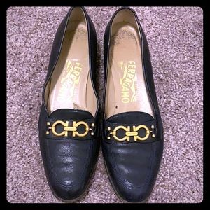 Salvatore Ferragamo navy & gold leather loafers